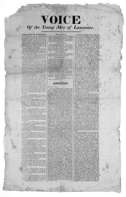 Voice of the young men of Lancaster. Friends of Findlay. Lancaster, Sept. 30, [1819].