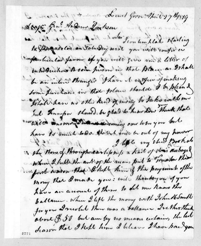 William Griggs, Jr. to Andrew Jackson, April 27, 1819
