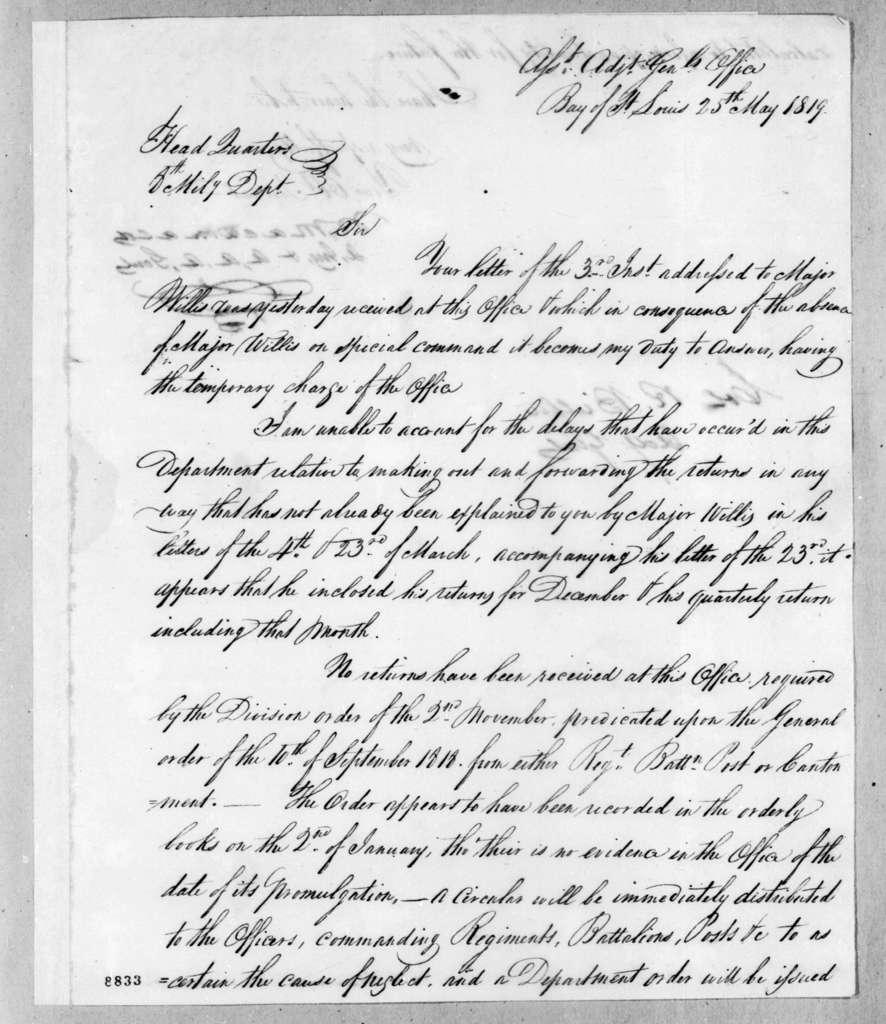 William Macdonald [McDonald] to Robert Butler, May 25, 1819