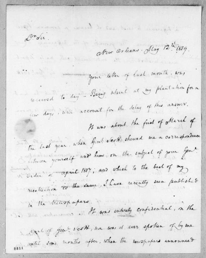 William O. Winston to Andrew Jackson, May 12, 1819