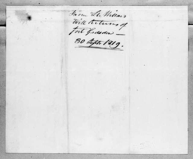 [William Tell] Willard to Robert Butler, September 30, 1819