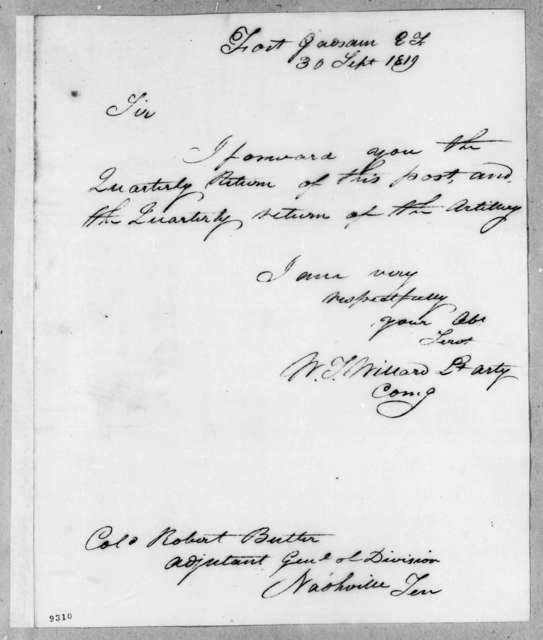 [William Tell] Willard to Robert Butler, September 30, 1819