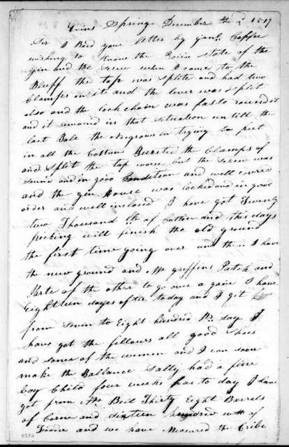 William White Crawford to Andrew Jackson, December 3, 1819