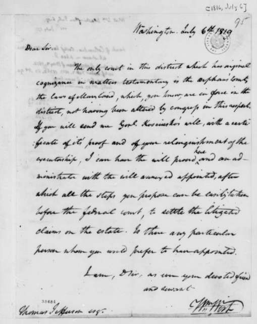 William Wirt to Thomas Jefferson, July 6, 1819, with Thomas Jefferson Note