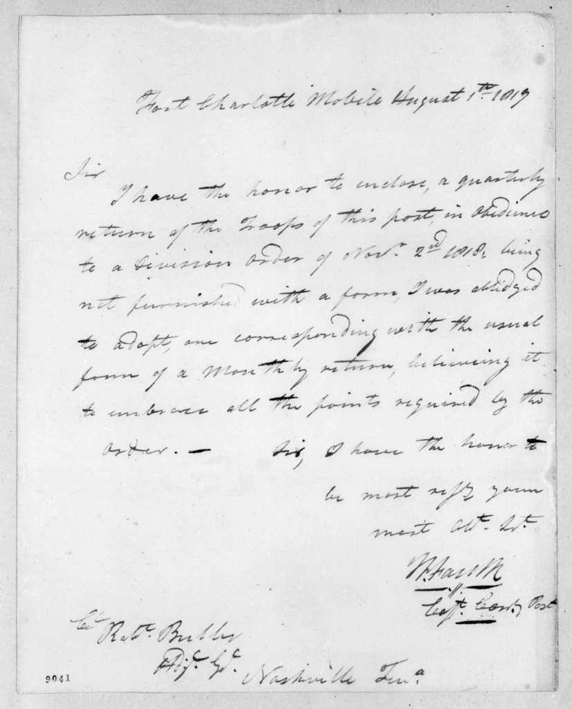 Willis Foulk to Robert Butler, August 1, 1819