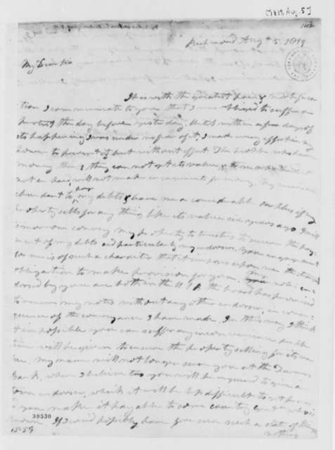 Wilson Cary Nicholas to Thomas Jefferson, August 5, 1819