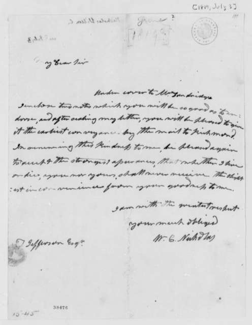 Wilson Cary Nicholas to Thomas Jefferson, July 3, 1819