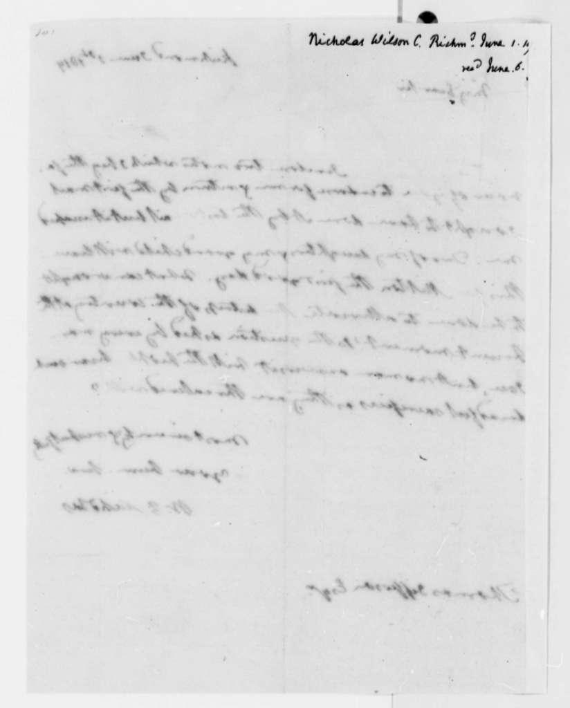 Wilson Cary Nicholas to Thomas Jefferson, June 1, 1819