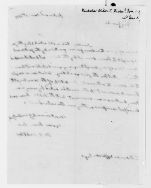 Wilson Cary Nicholas to Thomas Jefferson, June 1, 1819