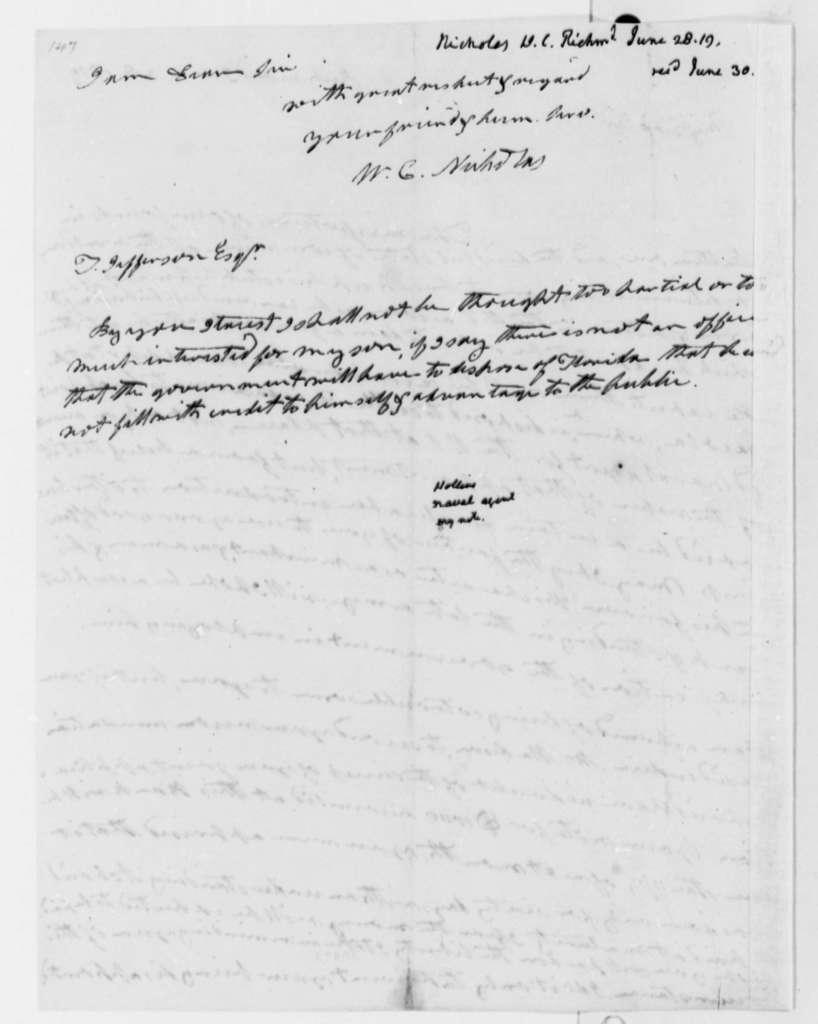 Wilson Cary Nicholas to Thomas Jefferson, June 28, 1819