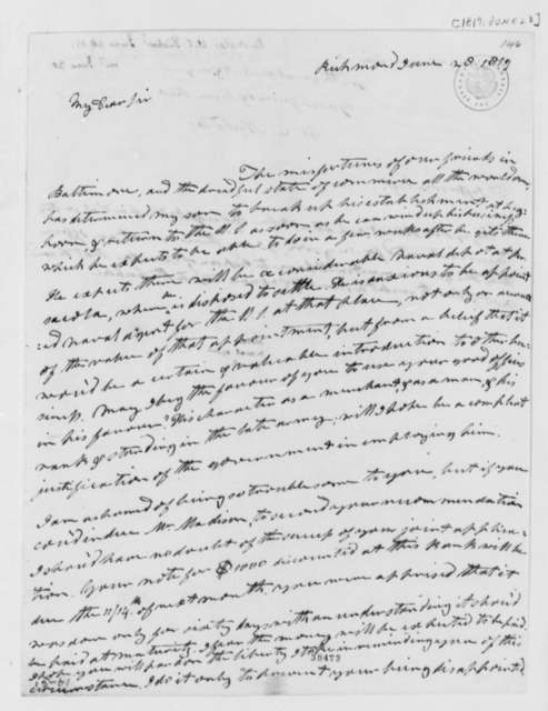 Wilson Cary Nicholas to Thomas Jefferson, June 28, 1819