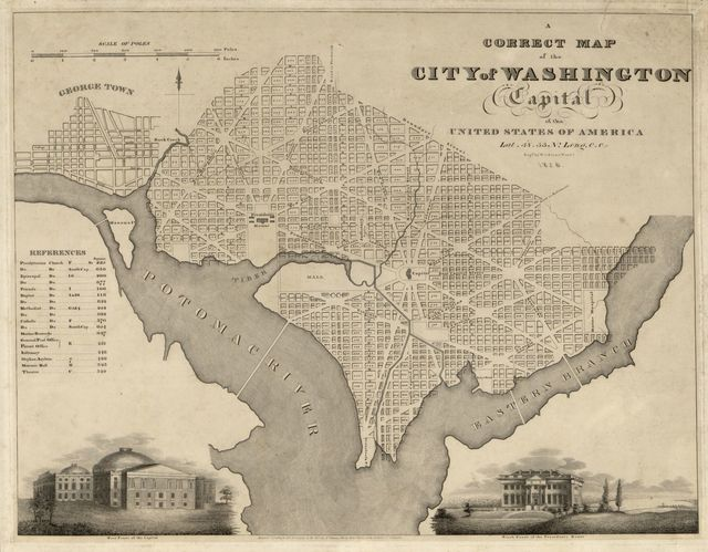 A correct map of the city of Washington : capital of the United States of America : lat. 38.53 n., long. 0.0 /