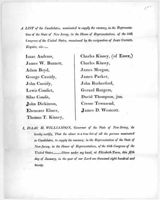 A list of candidates, nominated to supply the vacancy, in the Representation of the State of New Jersey, in the House of representatives, of the 16th Congress of the United States, occasioned by the resignation of John Condit, Esquire ... I, Isa