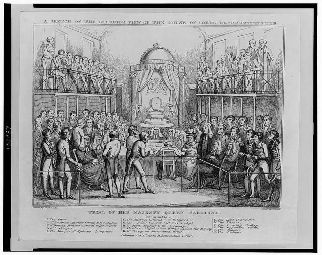 A sketch of the interior view of the House of Lords, representing the trial of her majesty Queen Caroline / drawn by Cruikshanks ; etched by Roberts.
