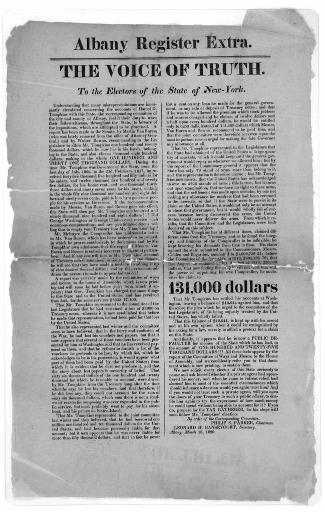 Albany Register Extra. The voice of truth. To the electors of the State of New York. Understanding that many misrepresentations are incessantly circulated concerning the accounts of Daniel D. Tompkins with this state, the corresponding committee