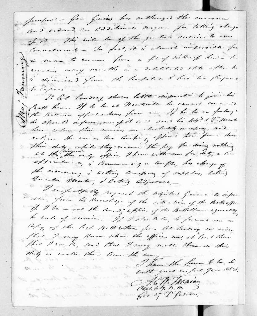 Alexander Campbell Wilder Fanning to Andrew Jackson, September 3, 1820