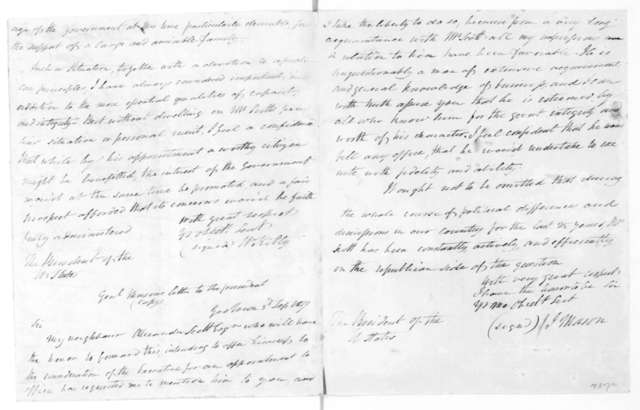Alexander Scott to James Madison, January 2, 1820.