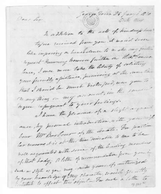 Alexander Scott to James Madison, January 2, 1820.