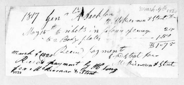Andrew Jackson to McKiernan & Stout, March 9, 1820