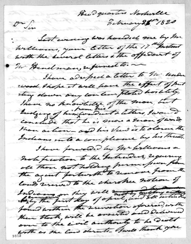 Andrew Jackson to Return Jonathan Meigs, February 28, 1820