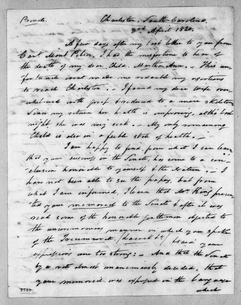 Arthur Peronneau Hayne to Andrew Jackson, April 3, 1820