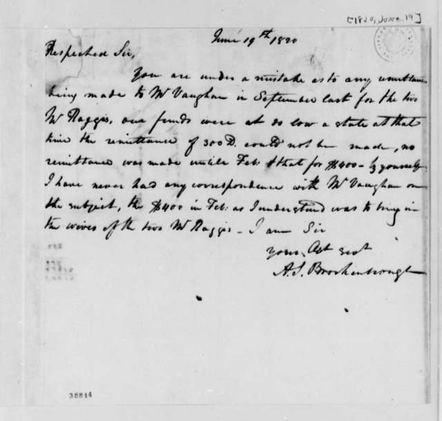 Arthur S. Brockenbrough to Thomas Jefferson, June 19, 1820