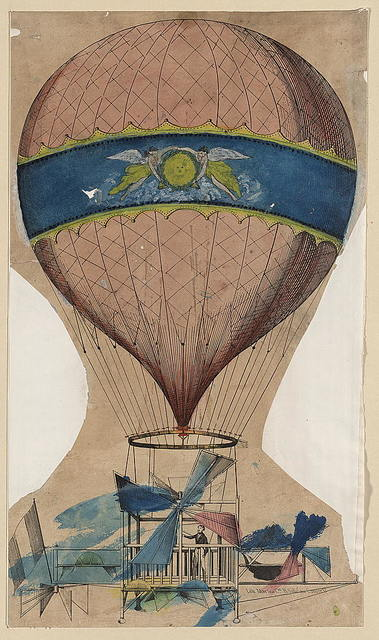 [Balloon with open frame wood or metal basket and attached propellers]