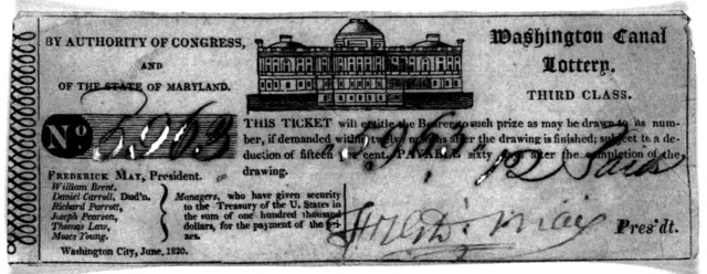 By authority of Congress, and of the state of Maryland. Washington canal lottery. Third class. This ticket will entitle the bearer to such prize as may be drawn to its number, of demanded within twelve months after the draiwng is finished; subje