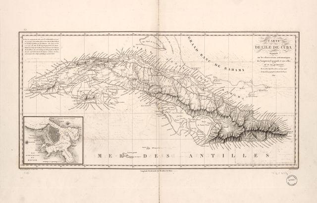 Carte de l'ile de Cuba : redigée sur les observations astronomiques des navigateurs Espagnols et sur celles de Mr. de Humboldt /
