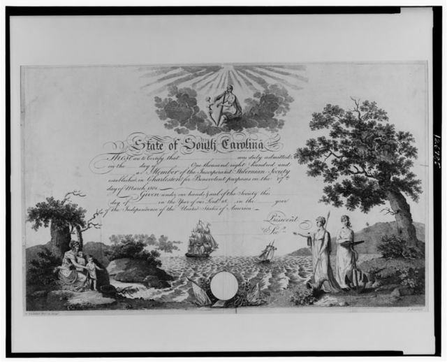 [Charleston, S. C. Hibernian Society membership certificate] / G. Thresher delt. & script. ; A. Anderson.