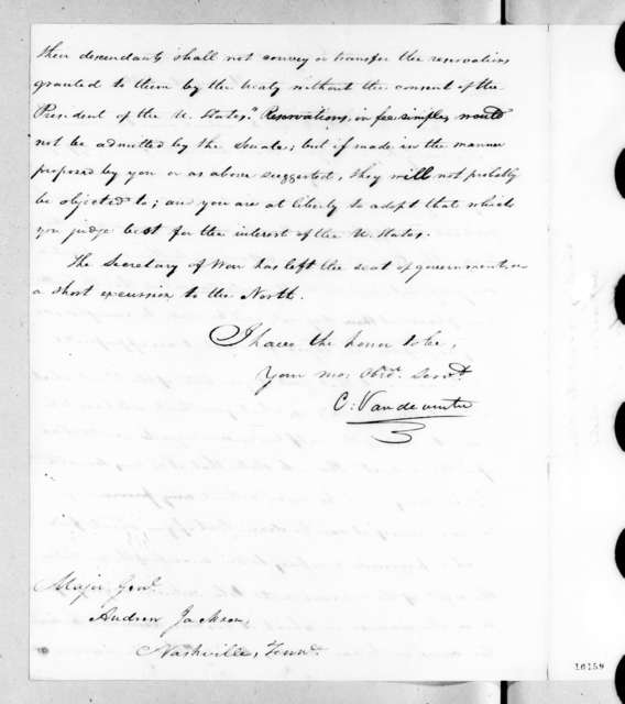 Christopher Vandeventer to Andrew Jackson, August 21, 1820