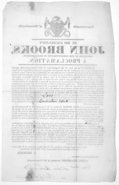 Commonwealth of Massachusetts. By His Excellency John Brooks, Governor of the Commonwealth of Massachusetts. A proclamation [Calling for an election on the third Monday of October] Given at the Council Chamber, in Boston, this twelfth day of Sep