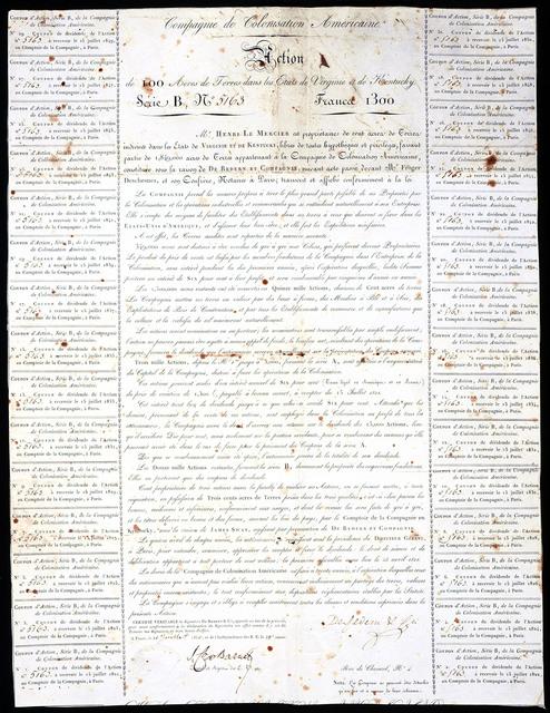 Compagnie de colonisation Americaine. Action de 100 acres de terres dans les etats de Virginie et de Kentucky
