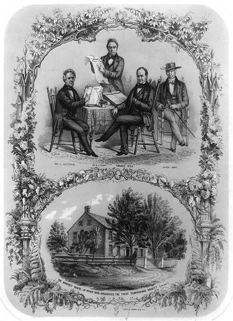 [Composite of two illustrations: 1. Rev. L. Armstrong, Dr. B.J. Clark, Gardiner Stow, and James Mott around table with Holy Bible, Temperance Constitution, and Blackstone's Commentary; 2. The Mawney House, in which was organized the first temperance society]