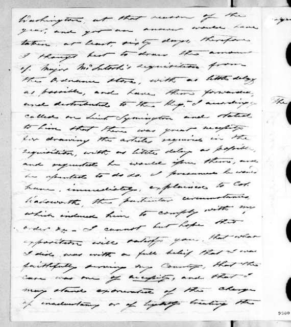 Daniel Bissell to John Caldwell Calhoun, April 10, 1820