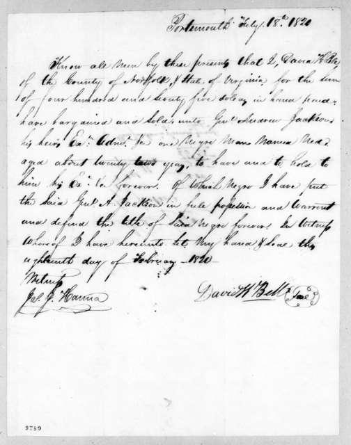 David K. Bell to Andrew Jackson, February 18, 1820