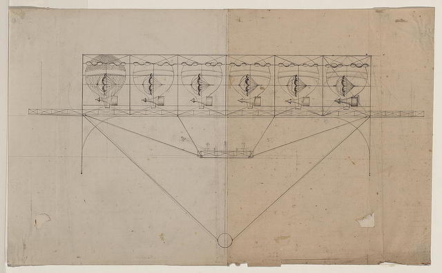 [Design drawing for a navigational system for an airship employing six balloons and parachutes, a deck, superstructure, and basket below]