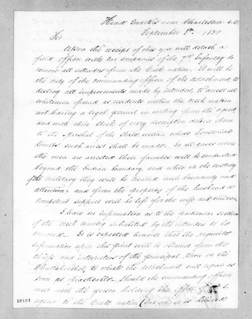 Edmund Pendleton Gaines to Mathew Arbuckle, September 1, 1820