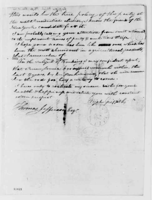 Elijah Griffiths to Thomas Jefferson, December 11, 1820