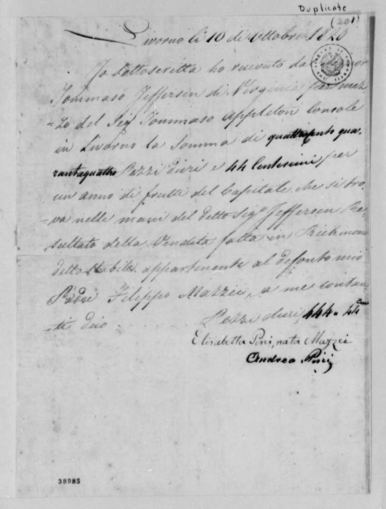 Elizabetta M. Pini and Andrea Pini to Thomas Jefferson, October 10, 1820, in Italian, with Appleton Letter Dated November 2, 1820