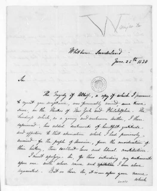 Frances Wright to James Madison, June 28, 1820.