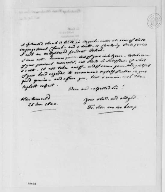 Francis A. van der Kemp to Thomas Jefferson, June 25, 1820