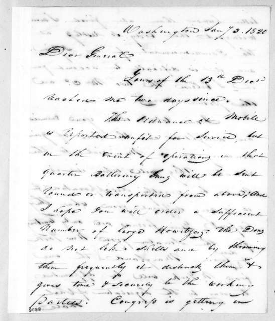 George Gibson to Andrew Jackson, January 3, 1820