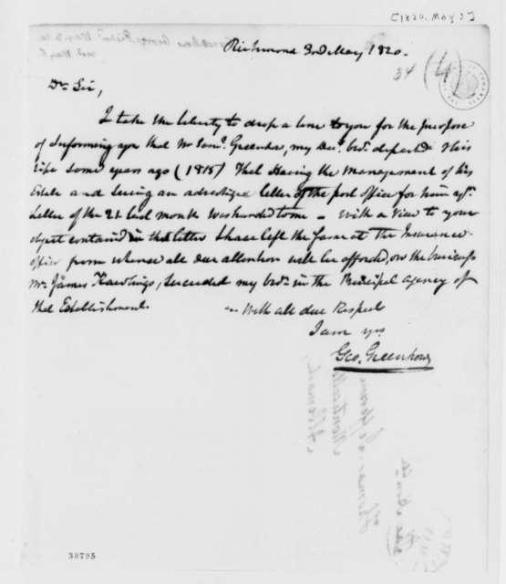 George Greenhow to Thomas Jefferson, May 3, 1820