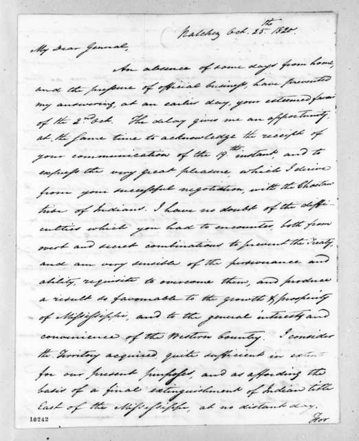 George Poindexter to Andrew Jackson, October 25, 1820