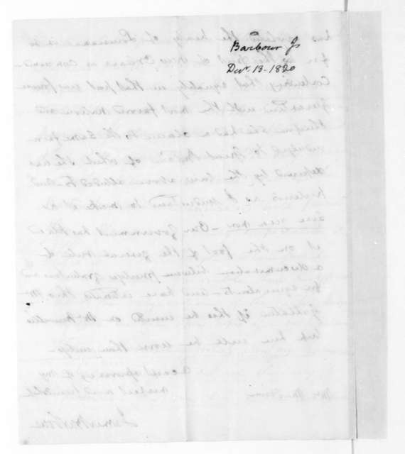 James Barbour to James Madison, December 13, 1820.