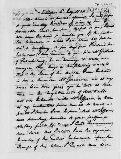 James Deneale to Thomas Jefferson, July 2, 1820, with Map Grid
