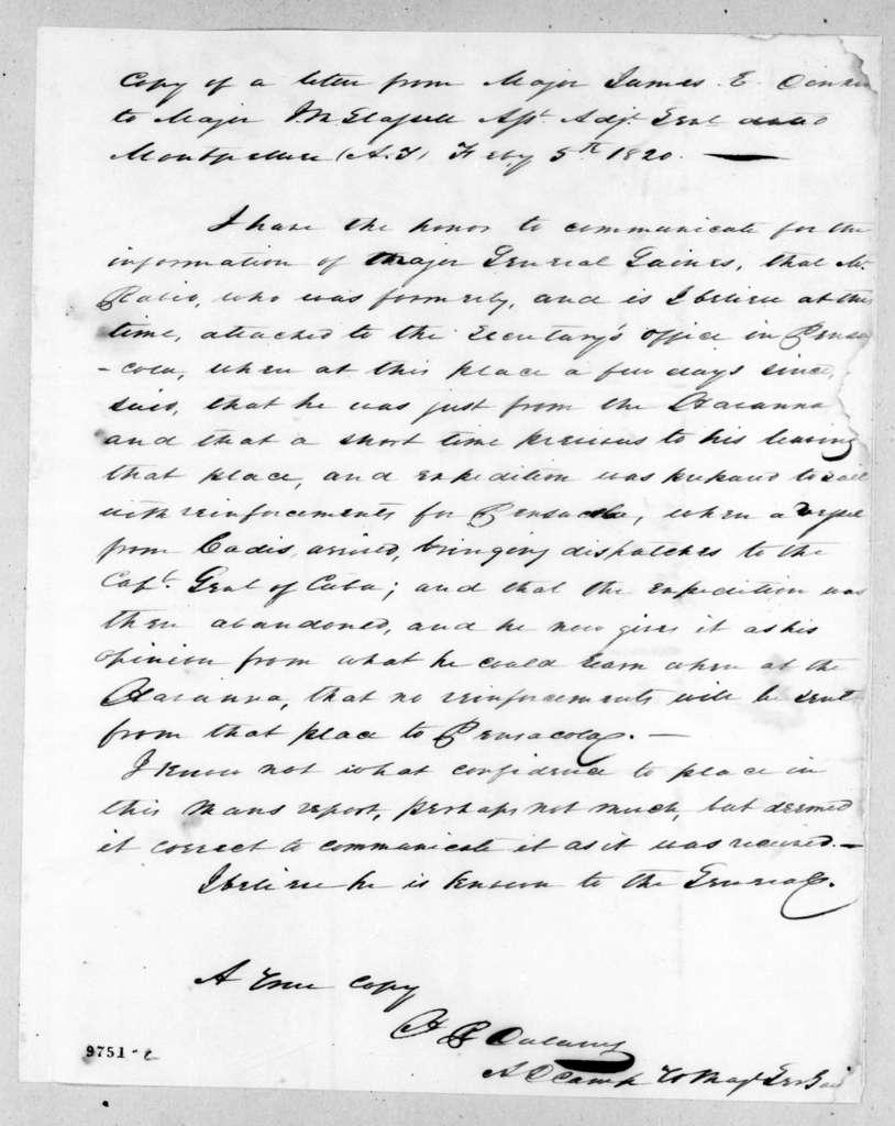 James E. Dulany to James McMillan Glassell, February 5, 1820