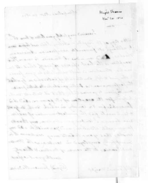 James Madison to Frances Wright, November 20, 1820.