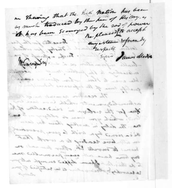 James Madison to Mathew Carey, February 11, 1820.